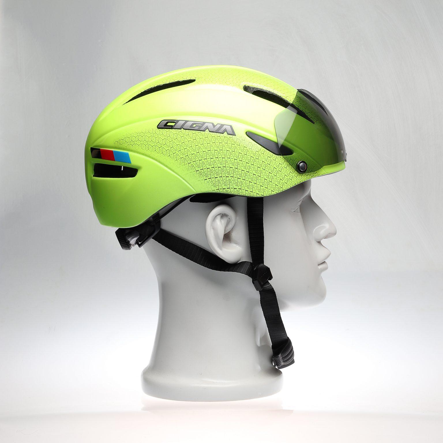 yellow helmet with visor